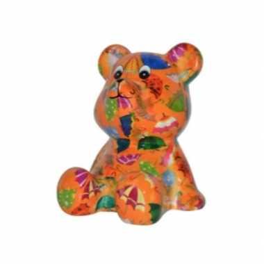 Beren spaarpot oranje gekleurd met paraplus print 16 cm bestellen