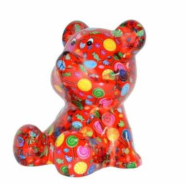 Beren spaarpot rood gekleurd met snoepjes print 16 cm bestellen