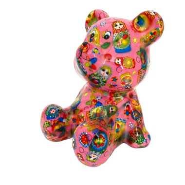 Beren spaarpot roze met russische baboesjka poppetjes print 16 cm bes