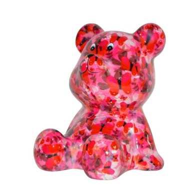 Beren spaarpot roze met vlinders print 16 cm bestellen