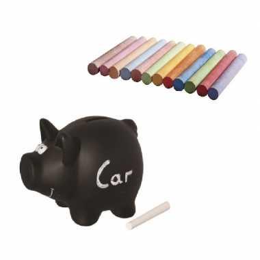 Beschrijfbaar spaarvarken 16 cm inclusief 12 gekleurde krijtjes beste