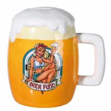 Bier glas spaarpot van keramiek bestellen