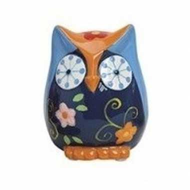 Blauw/oranje uilen spaarpot 9 cm bestellen