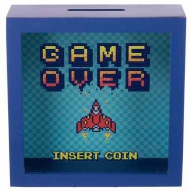Blauwe raam spaarpotje game over insert coin 18x18 cm bestellen