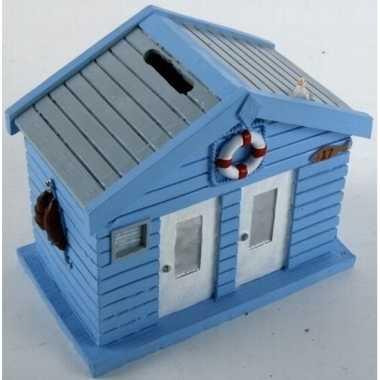 Blauwe strandhuizen spaarpot 13 cm bestellen