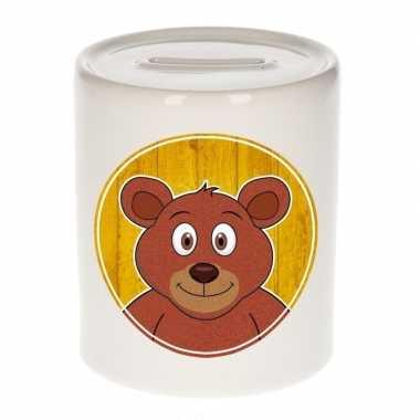 Bruine beren spaarpot van keramiek 9 cm bestellen