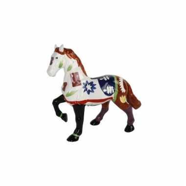Decoratie paard spaarpot wit bruin bestellen
