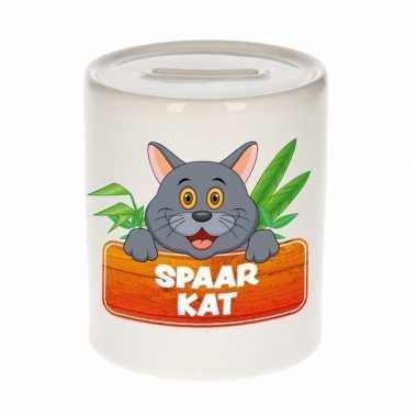 Dieren spaarpot grijze kat / poes 9 cm bestellen