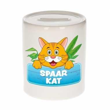 Dieren spaarpot rode kat / poes 9 cm bestellen