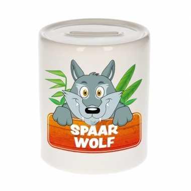 Dieren spaarpot wolf 9 cm bestellen