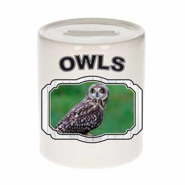 Dieren velduil spaarpot owls uilen spaarpotten kinderen 9 cm