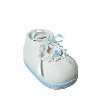 Geboorte jongen kado spaarpot babyschoen bestellen