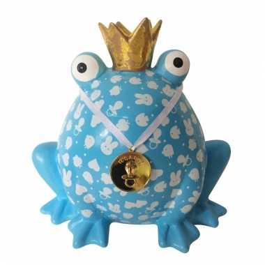 Geboorte spaarpot jongen blauwe kikker 24 cm bestellen