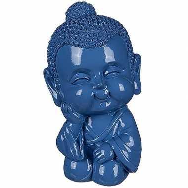 Geld spaarpot boeddha blauw 13 cm bestellen