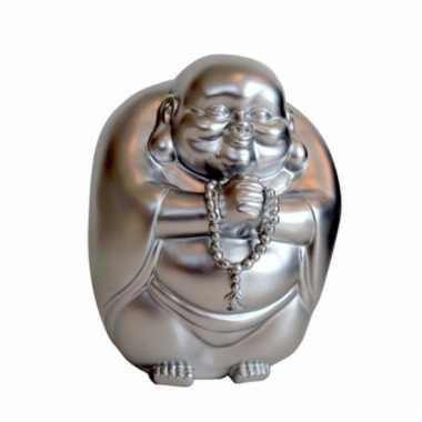 Geld spaarpot boeddha zilver 23 x 18 cm bestellen
