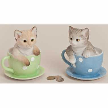 Geld spaarpot kat 17 cm bestellen
