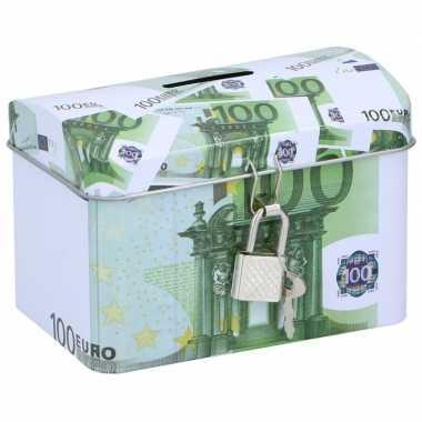 Geldkistje/spaarpot 100 euro 11 x 8 cm bestellen
