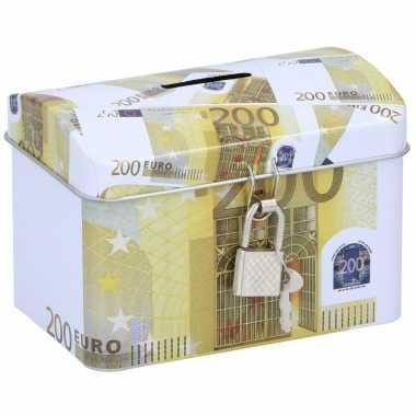 Geldkistje/spaarpot 200 euro 11 x 8 cm bestellen