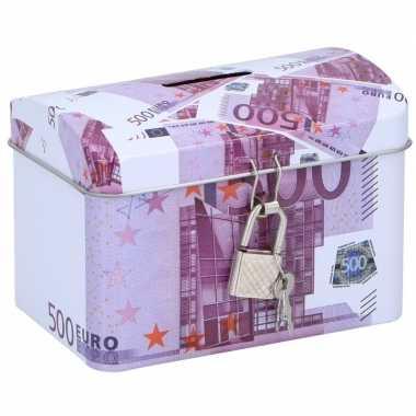 Geldkistje/spaarpot 500 euro 11 x 8 cm bestellen