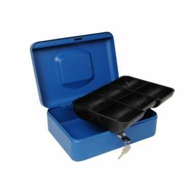 Geldkluis blauw 25 cm bestellen