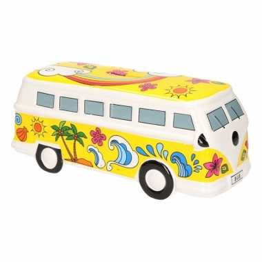 Gele hippiebus spaarpot porselein bestellen