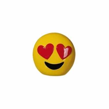 Gele spaarpot emoji hartjesogen 13 cm bestellen