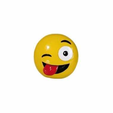 Gele spaarpot emoji tong 13 cm bestellen