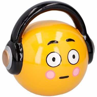 Gele spaarpot hoofdtelefoon emoji 17 cm bestellen