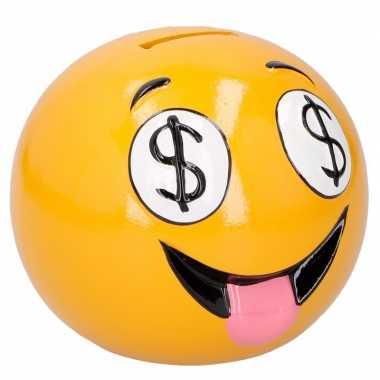 Gele spaarpot uitgestoken tong emoji 12 cm bestellen
