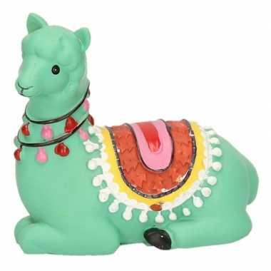 Groene liggende alpaca / lama spaarpot 9 cm bestellen