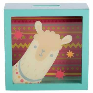 Groene raam spaarpotje alpaca/lama 18x18 cm. bestellen