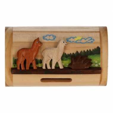 Houten spaarpotje alpaca/lama 10 cm bestellen