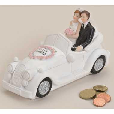 Just married geld spaarpot wit 16 cm bestellen