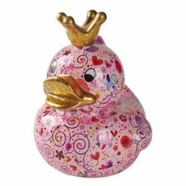 Kado mega spaarpot roze eendje met hartjes 28 cm bestellen