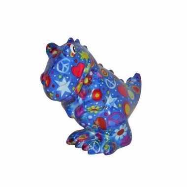 Kado spaarpot blauwe dinosaurus met figuurtjes print 17 cm bestellen