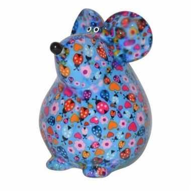 Kado spaarpot blauwe muis met hartjes print 17 cm bestellen