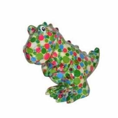 Kado spaarpot dinosaurus met gekleurde stippen print 17 cm bestellen