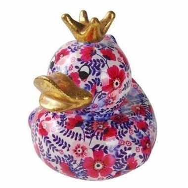 Kado spaarpot eendje roze met paars 16 cm bestellen