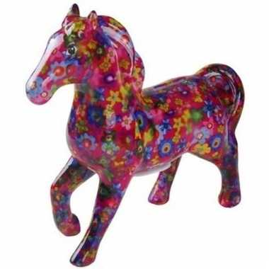 Kado spaarpot fuchsia paard met bloemetjes print 21 cm bestellen