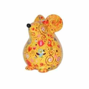Kado spaarpot gele muis met vogels print 17 cm bestellen