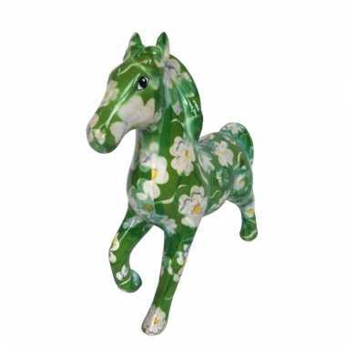 Kado spaarpot groen paard met bloem print 21 cm bestellen