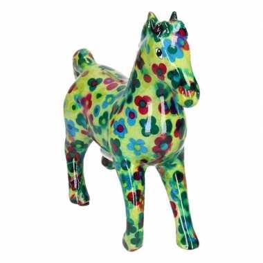 Kado spaarpot groen paard met bloemen print 21 cm bestellen