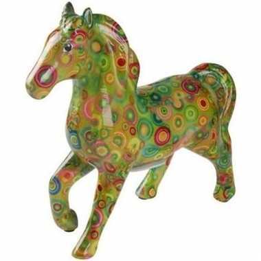 Kado spaarpot groen paard met rondjes print 21 cm bestellen
