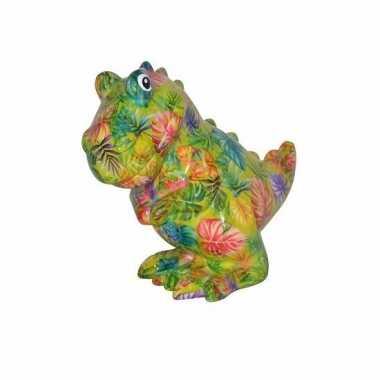 Kado spaarpot groene dinosaurus met bloemen print 17 cm bestellen