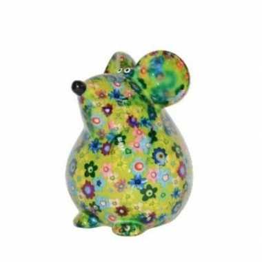 Kado spaarpot groene muis met bloemen print 17 cm bestellen