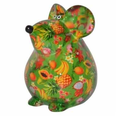Kado spaarpot groene muis met fruit print 17 cm bestellen