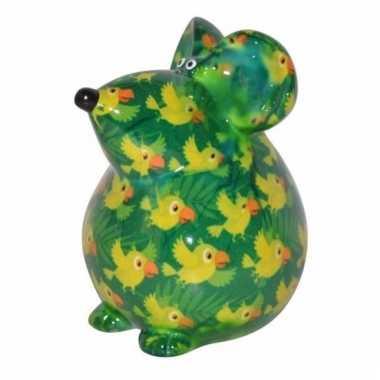 Kado spaarpot groene muis met vogel print 17 cm bestellen
