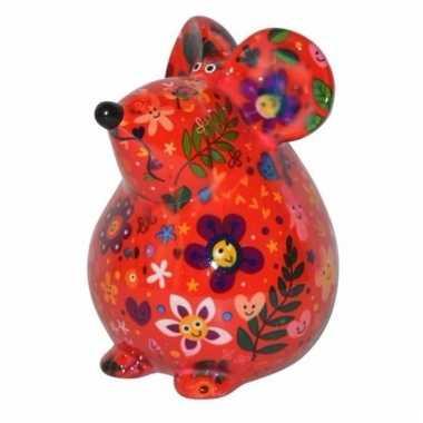 Kado spaarpot rode muis met bloemen print 17 cm bestellen