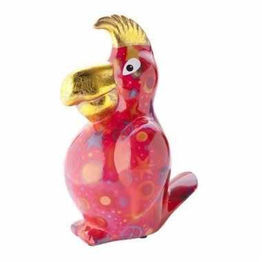 Kado spaarpot rode papegaai met peace print 22 cm bestellen