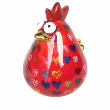 Kado spaarpot rood kipje met hartjes print 28 cm bestellen